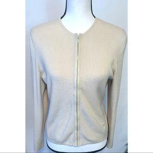 Sigrid Olsen medium petite cream zip up sweater